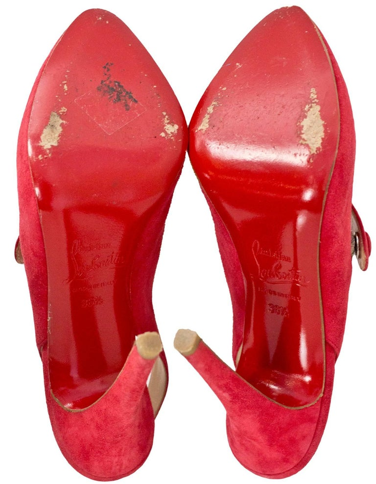 Christian Louboutin Red Suede Mary Jane Pumps Sz 36.5 For Sale 1