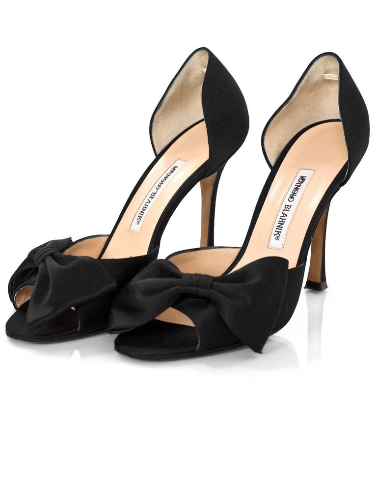Manolo Blahnik Black Satin Open-Toe d'Orsay Pumps Sz 39 ...