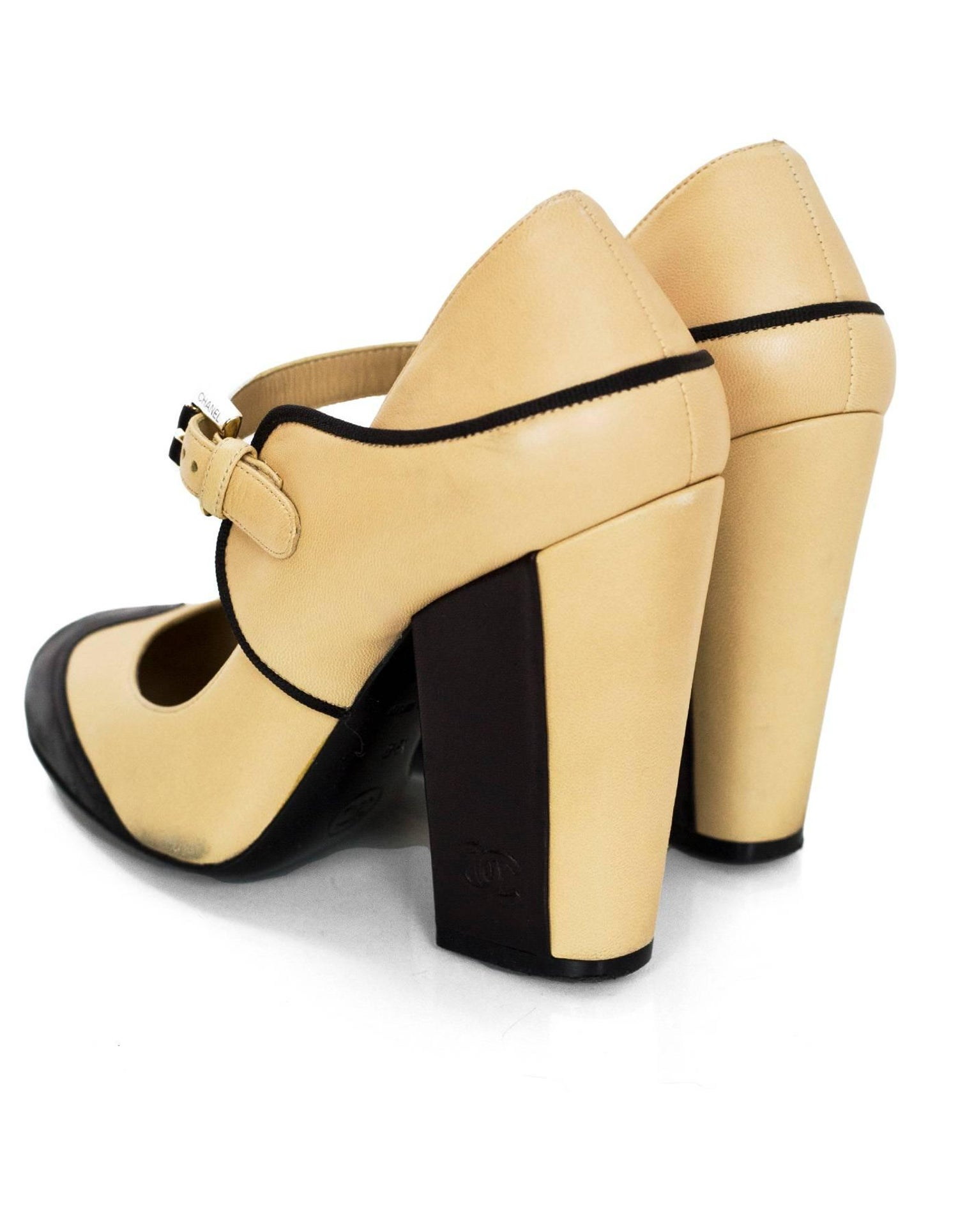 edc3d6b605b9 Chanel Beige and Black Leather Mary Jane Pumps Sz 36 For Sale at 1stdibs