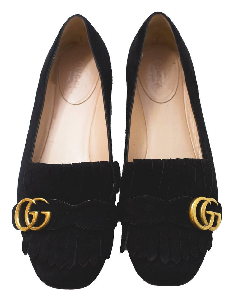 76eb37417 Gucci Black Suede Fringe Logo Ballet Flats sz 39.5 In Excellent Condition  For Sale In New