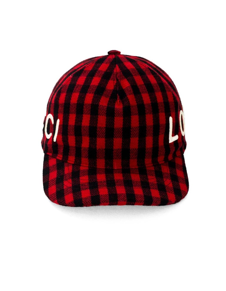 Gucci Black   Red Gingham Flannel Loved Baseball Cap sz M 58 In Excellent  Condition dd36945b01f