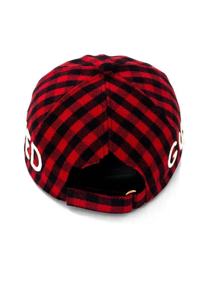 Gucci Black   Red Gingham Flannel Loved Baseball Cap sz M 58 For Sale 1 eff4091fda6