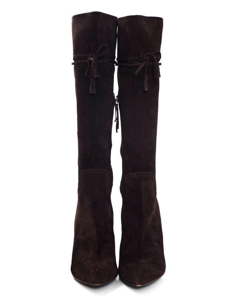e6ec5b5bf7fb Miu Miu Brown Suede Boots sz 40.5 For Sale at 1stdibs