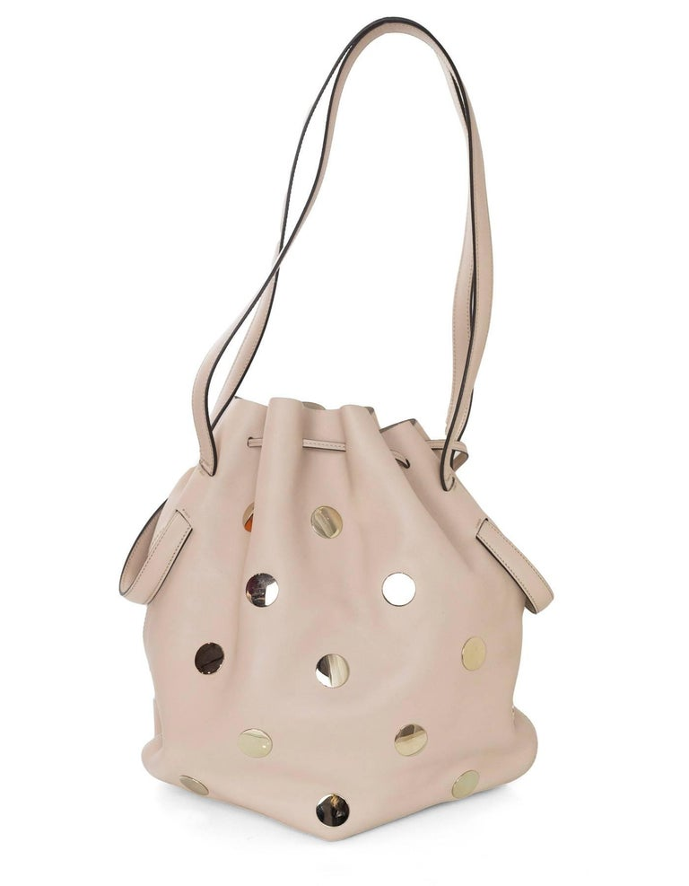 Beige Tod's Blush Leather Medium Secchiello Bucket Bag with Dust Bag For Sale