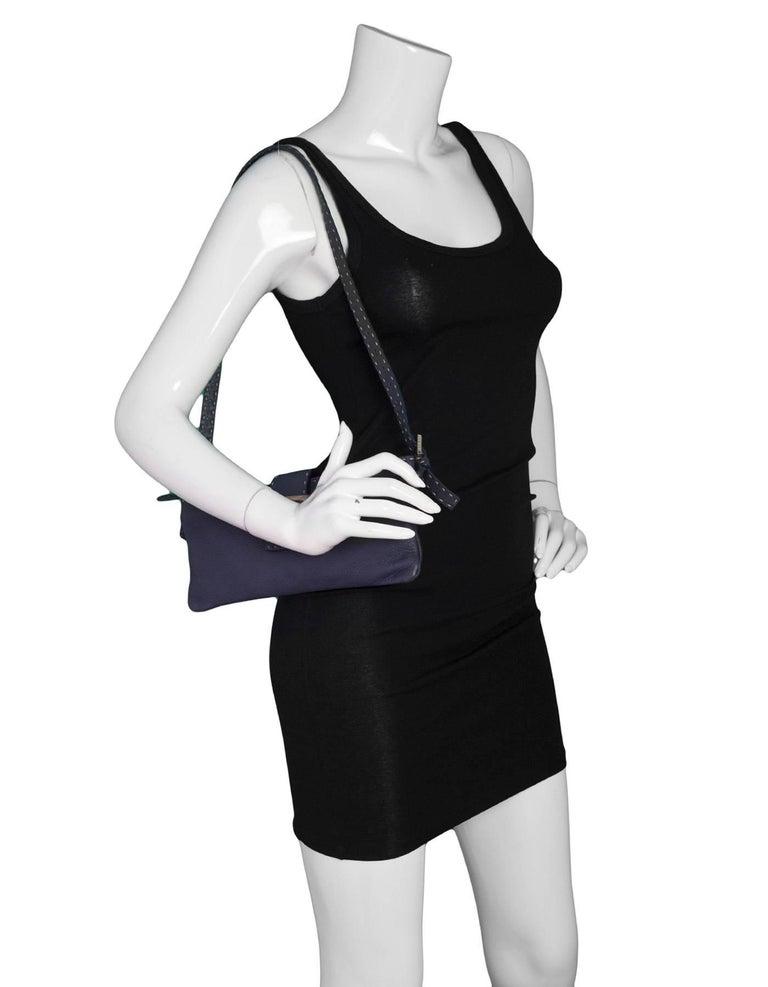 Black Fendi Navy Leather Selleria Pochette Bag For Sale