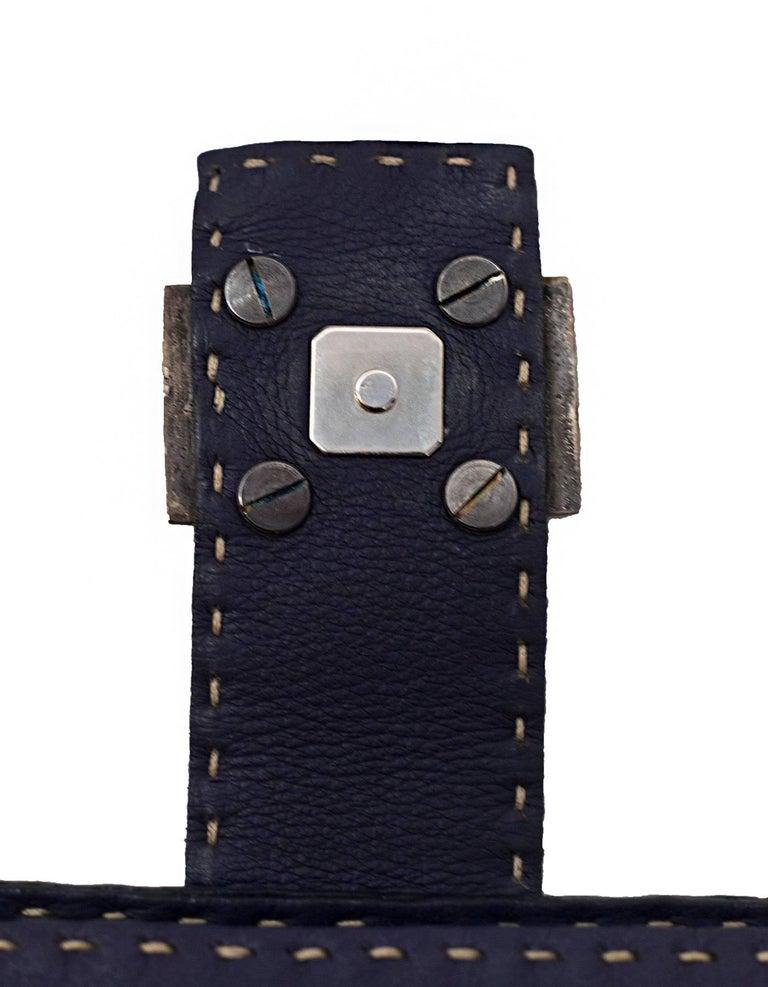 Fendi Navy Leather Selleria Pochette Bag For Sale 3