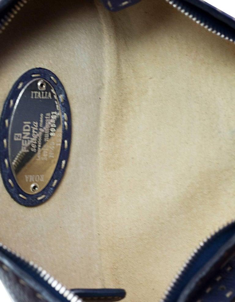 Fendi Navy Leather Selleria Pochette Bag For Sale 1