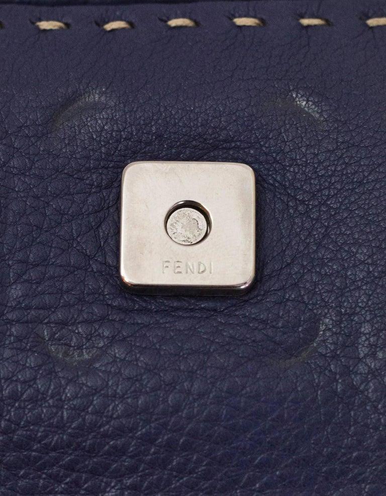 Fendi Navy Leather Selleria Pochette Bag For Sale 4
