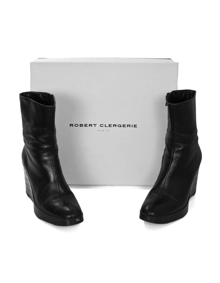 Robert Clergie Black Leather Wedge Ankle Boots Sz 6.5 with Box For Sale 3