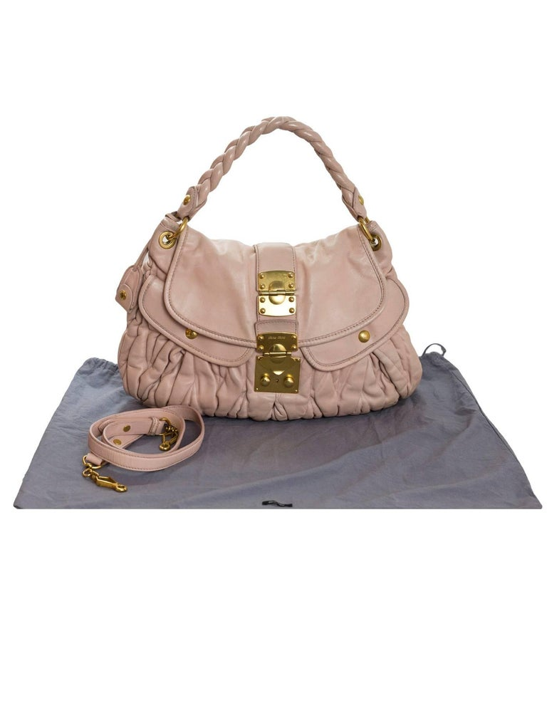 Miu Miu Blush Matelasse Lambskin Coffer Satchel Bag with DB For Sale 5