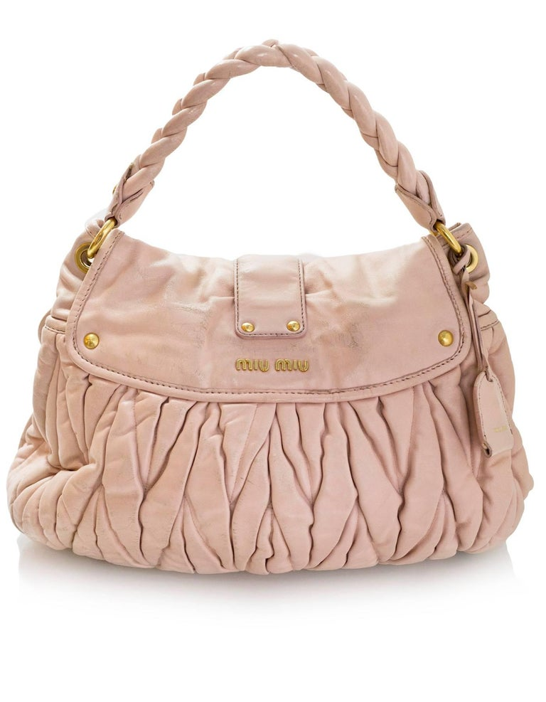 Beige Miu Miu Blush Matelasse Lambskin Coffer Satchel Bag with DB For Sale