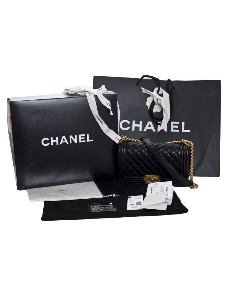 Chanel Black Quilted Lambskin Old Medium Boy Bag with Box For Sale 5