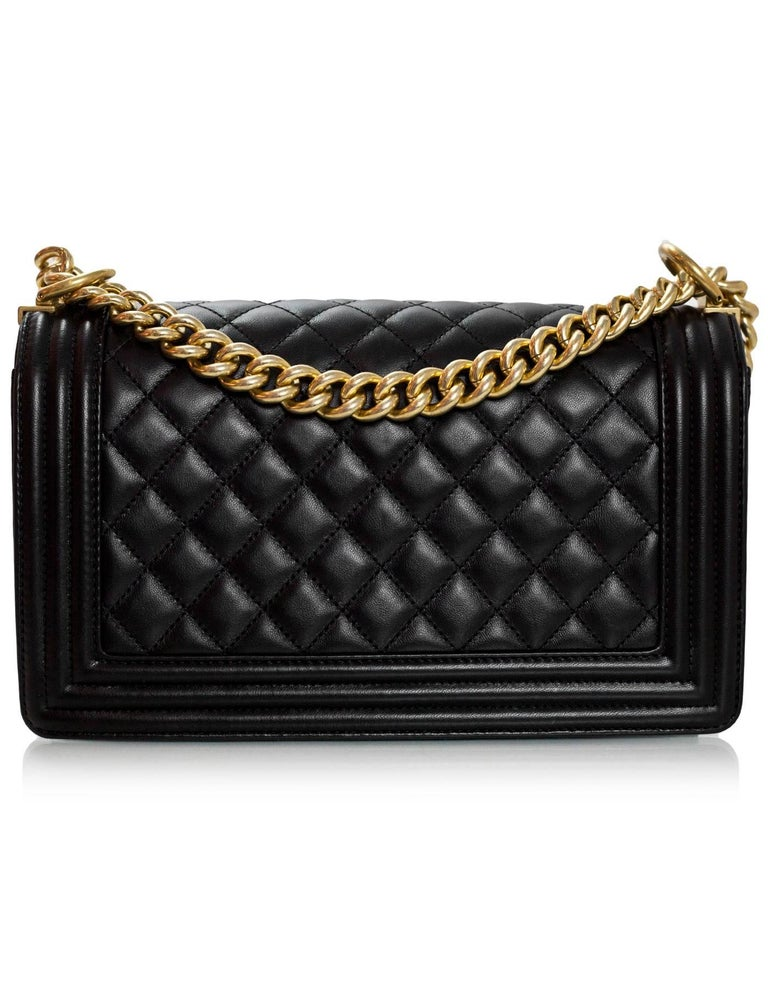 Chanel Black Quilted Lambskin Old Medium Boy Bag with Box In Excellent Condition For Sale In New York, NY
