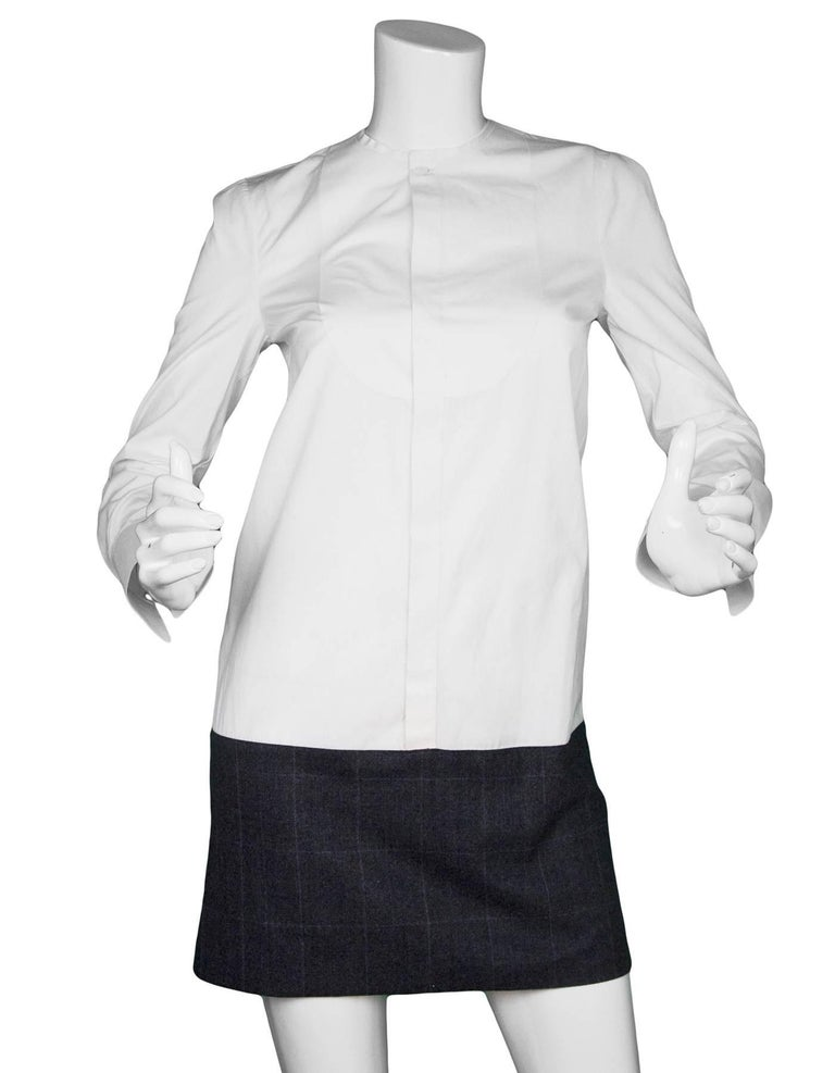 D'SQUARED2 White & Grey Tux Shirt Dress Sz IT40  Made In: Italy Color: White, grey Composition: 100% Cotton, 100% wool  Lining: None Closure/Opening: Front button closure Exterior Pockets: None Interior Pockets: None Overall Condition: Very good