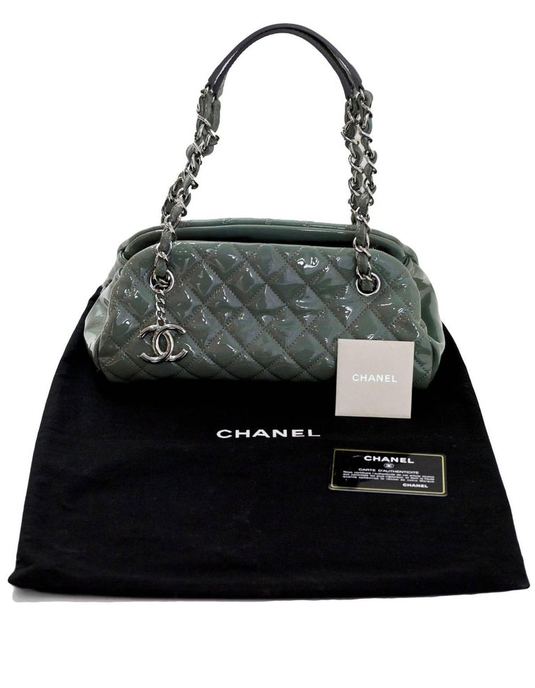 Chanel Green Quilted Patent Leather Just Mademoiselle Small Bowling Bag For Sale 5