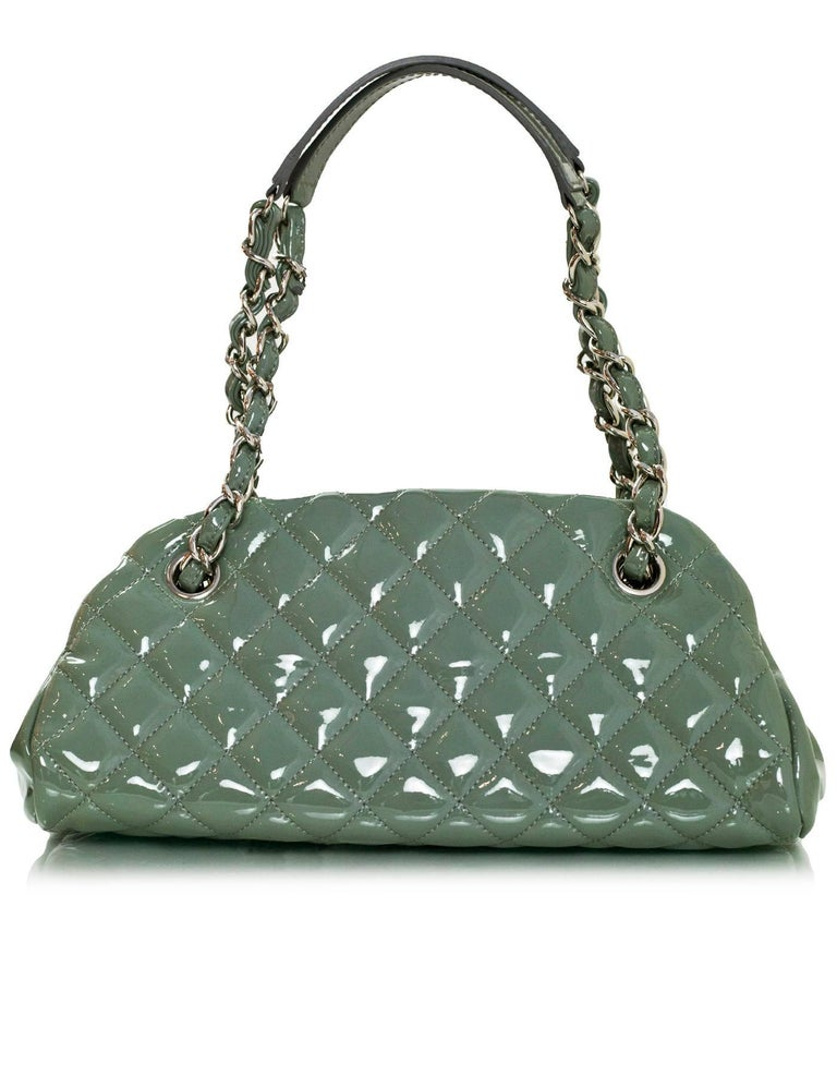 Women's Chanel Green Quilted Patent Leather Just Mademoiselle Small Bowling Bag For Sale