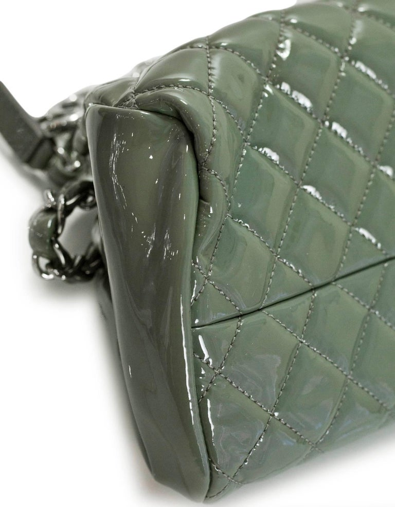 Gray Chanel Green Quilted Patent Leather Just Mademoiselle Small Bowling Bag For Sale