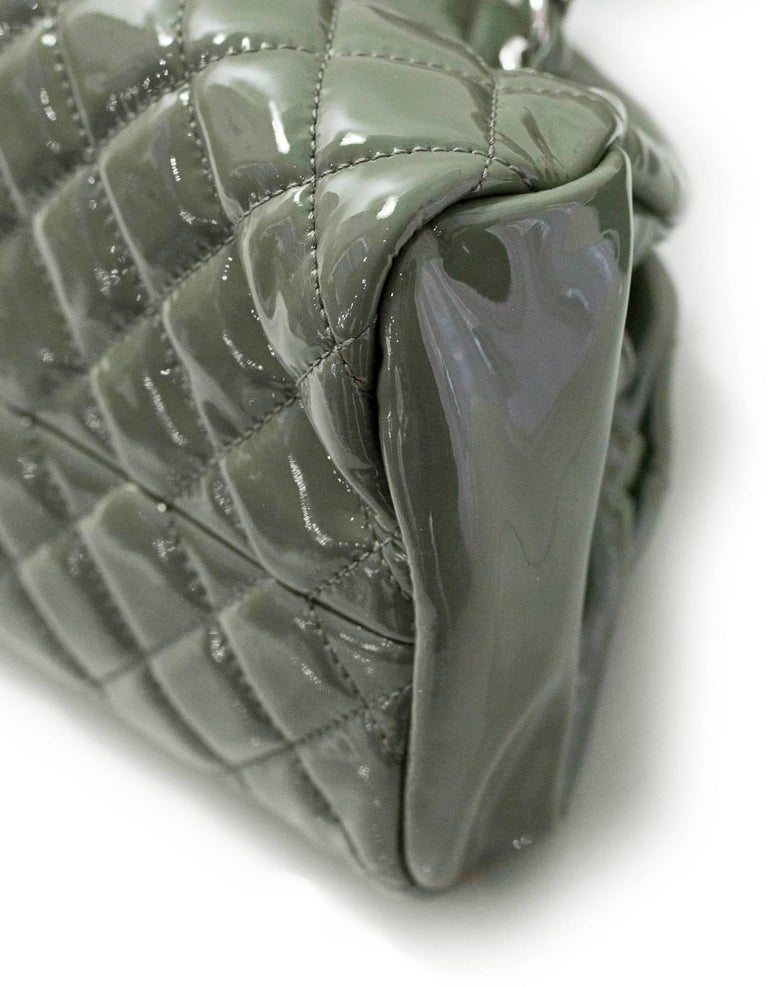 Chanel Green Quilted Patent Leather Just Mademoiselle Small Bowling Bag In Excellent Condition For Sale In New York, NY