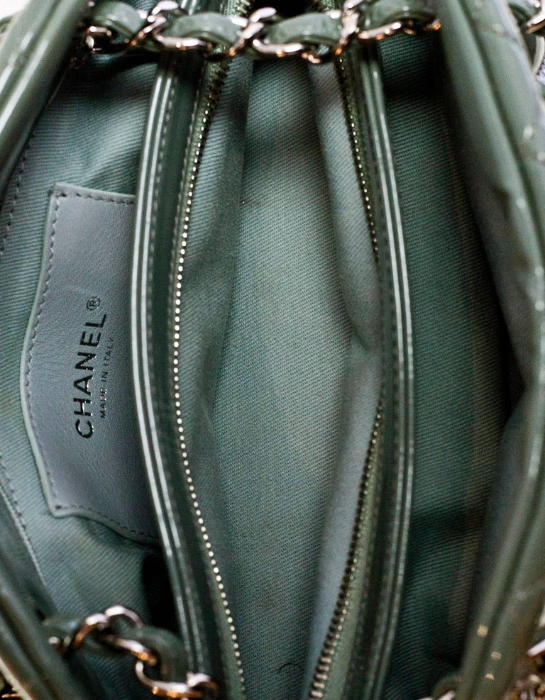 Chanel Green Quilted Patent Leather Just Mademoiselle Small Bowling Bag For Sale 3