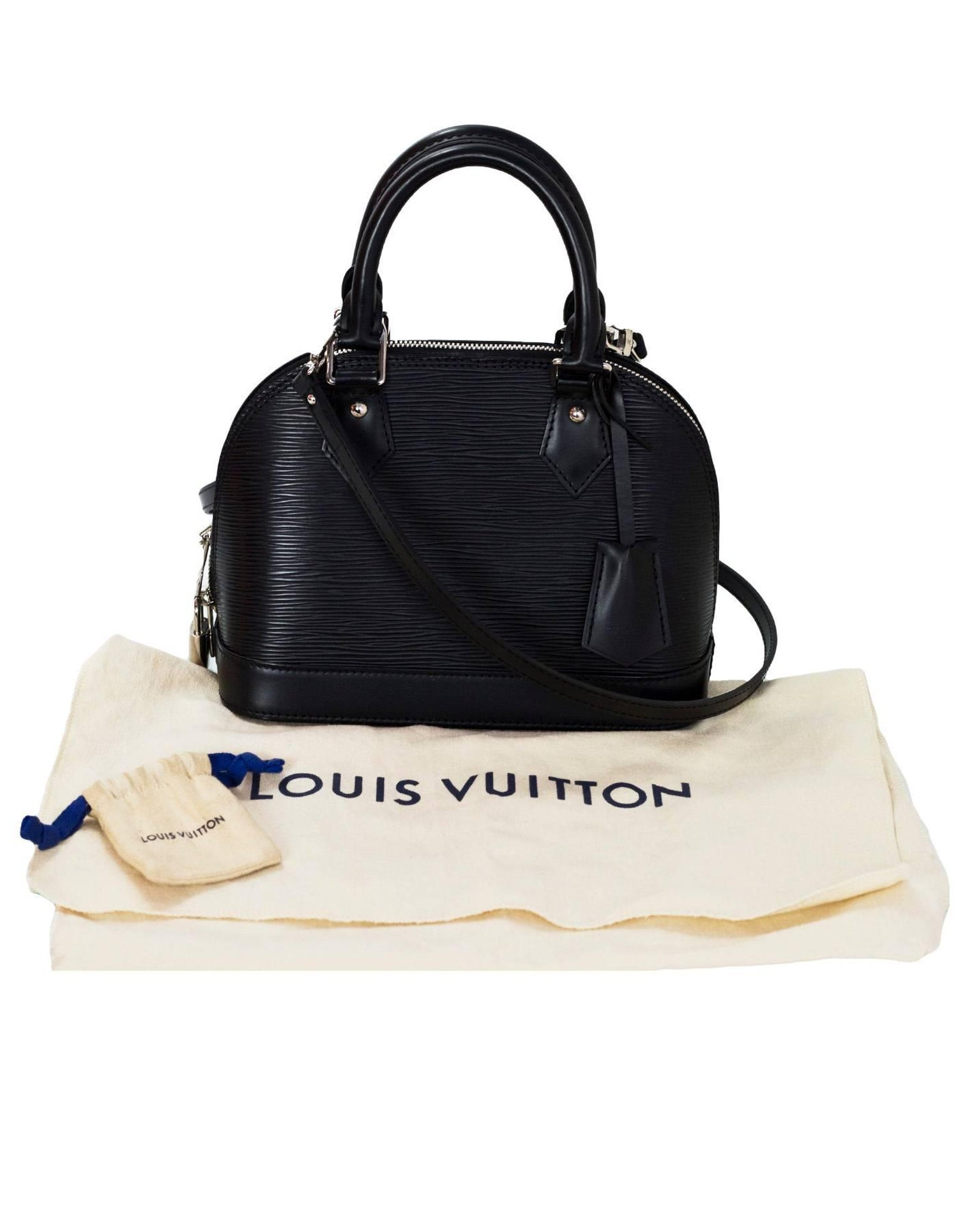 ce34ed98f7b9 Louis Vuitton Black Noir Epi Leather Alma BB Crossbody Bag For Sale at  1stdibs