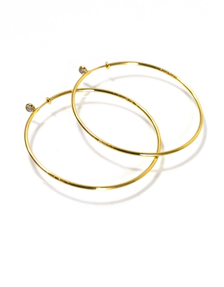 a6f1edf99 Women's Tiffany & Co. Elsa Peretti 18k Yellow Gold & Diamond Medium Hoop  Earrings For