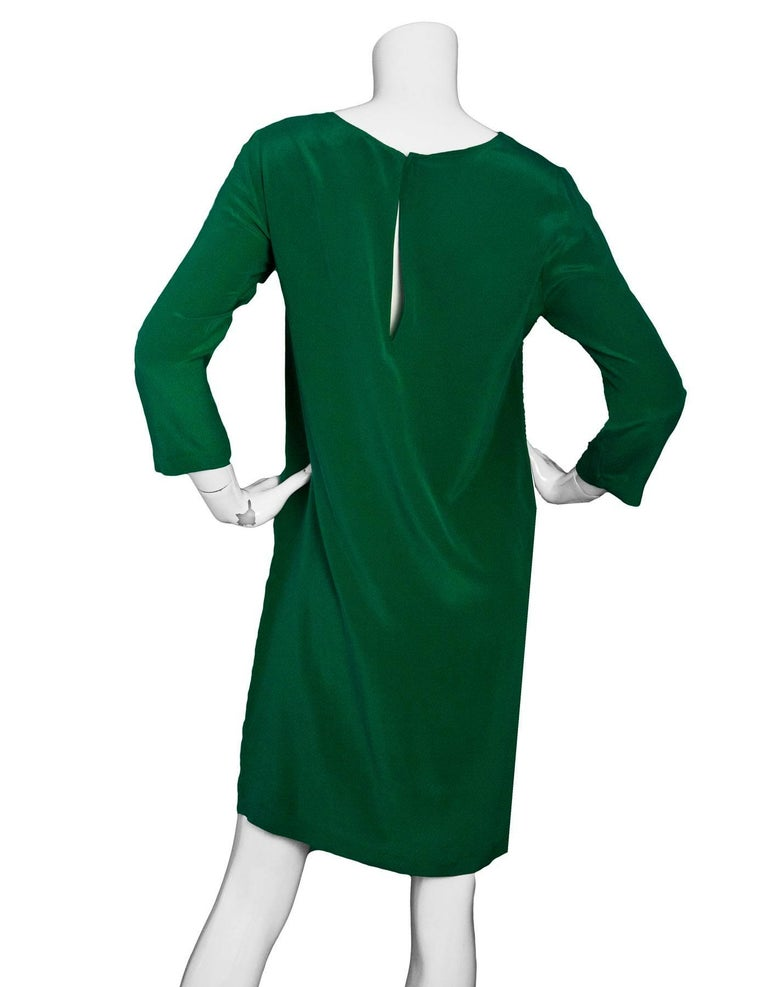 Nieves Lavi Green Silk Dress Sz 6 In Excellent Condition For Sale In New York, NY