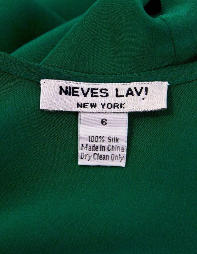 Women's Nieves Lavi Green Silk Dress Sz 6 For Sale