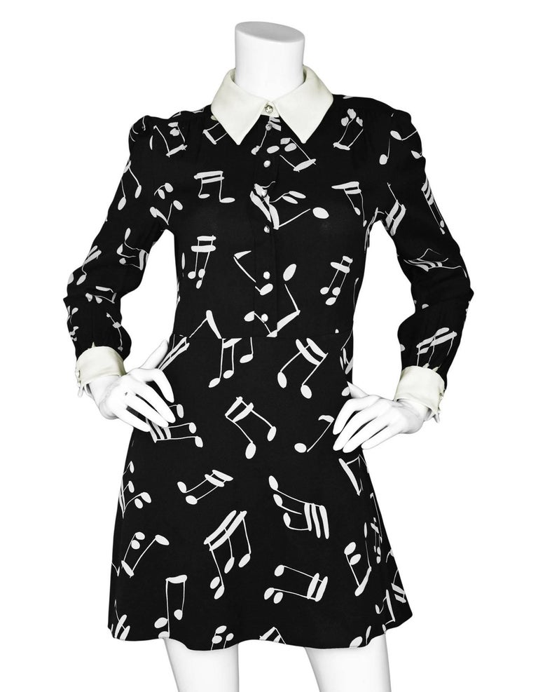 299e16bcc90 Saint Laurent Black Music Note Print Dress In Excellent Condition For Sale  In New York,