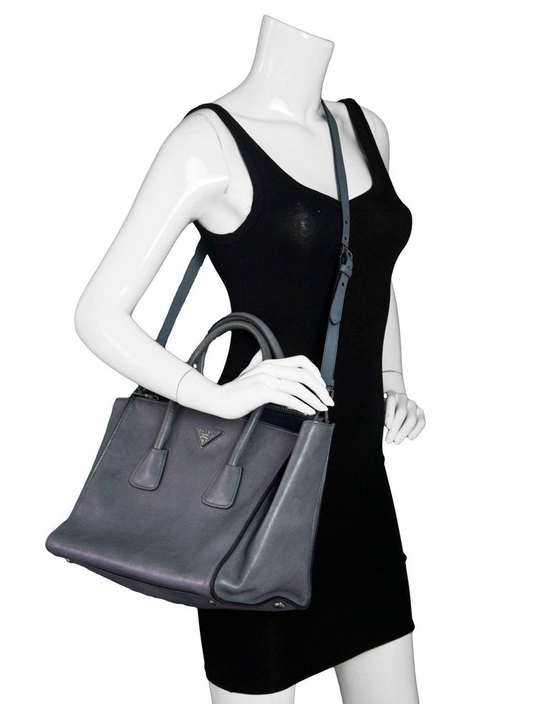 01c3a04099 Prada Marine Blue Glace Calf Leather Twin Pocket Tote Made In  Italy Color   Blue