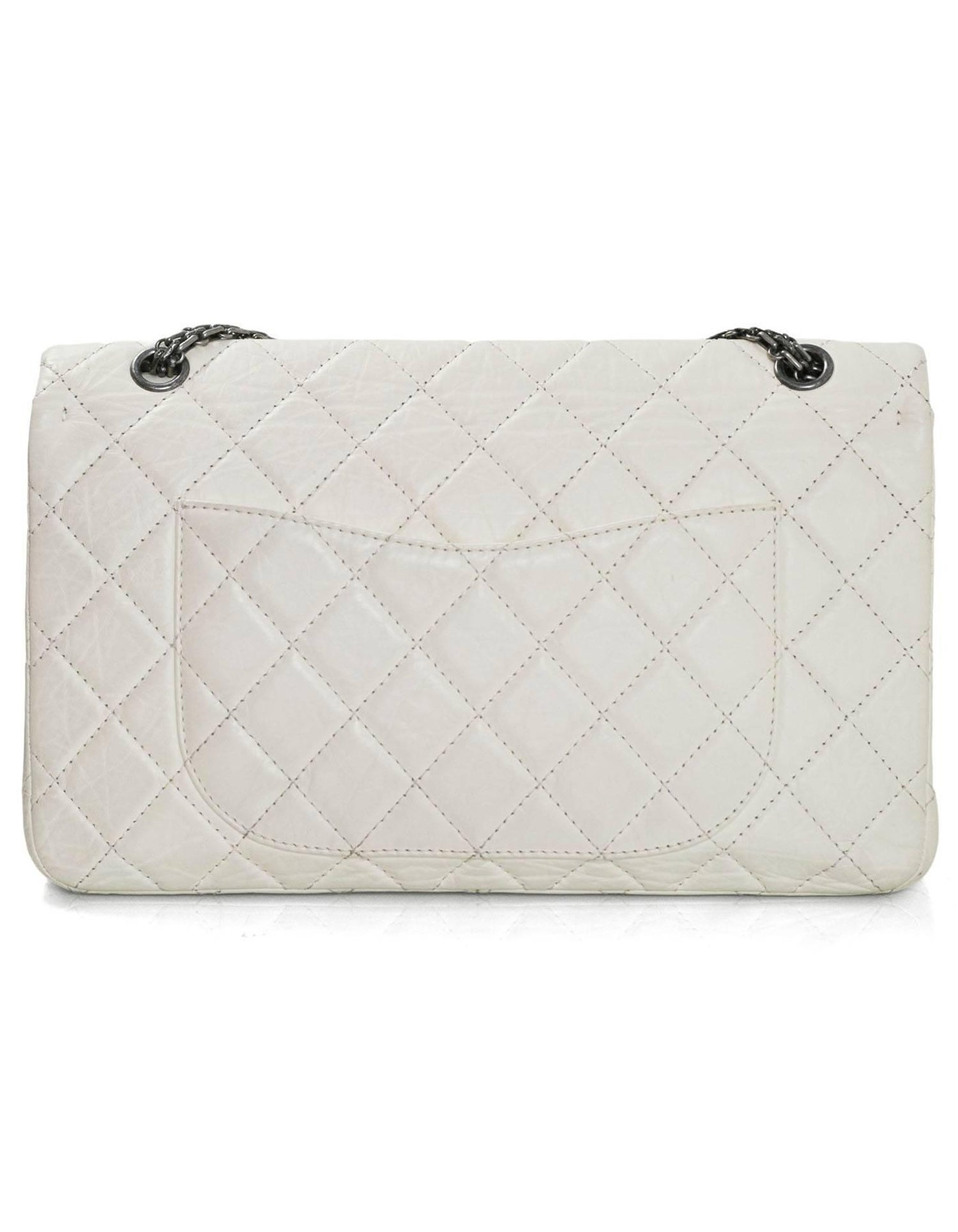 ceb9ff5d6b00 Chanel Ivory Quilted Calfskin 2.55 Reissue 227 Jumbo Double Flap Bag at  1stdibs