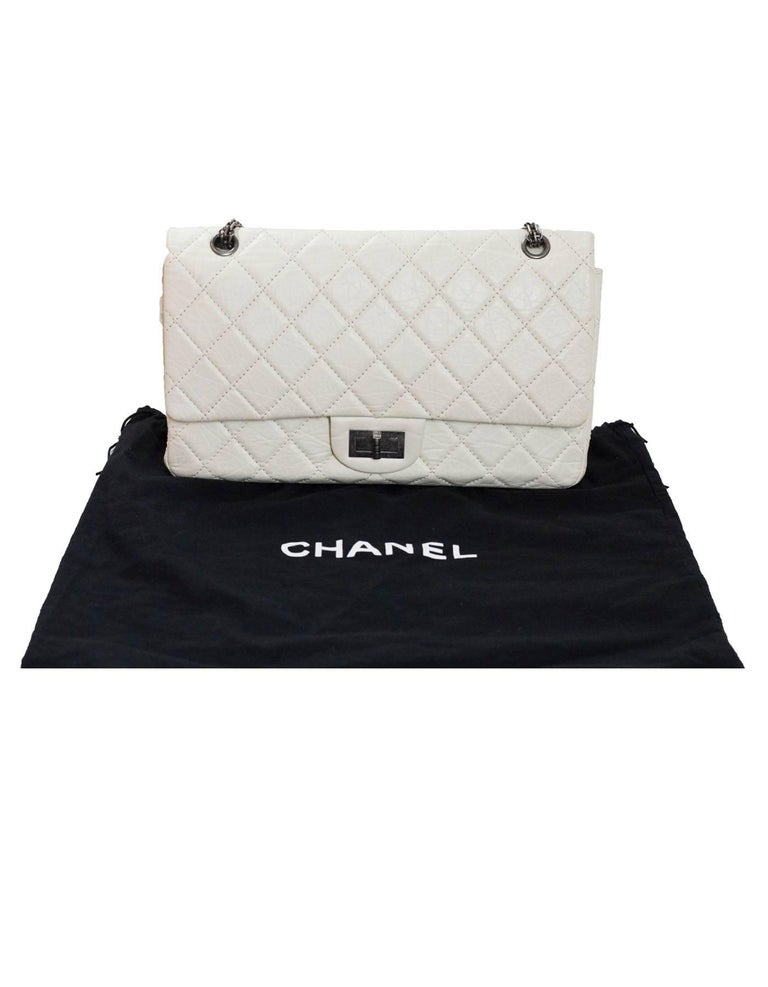 4231d16ec583 Chanel Ivory Quilted Calfskin 2.55 Reissue 227 Jumbo Double Flap Bag For  Sale 5