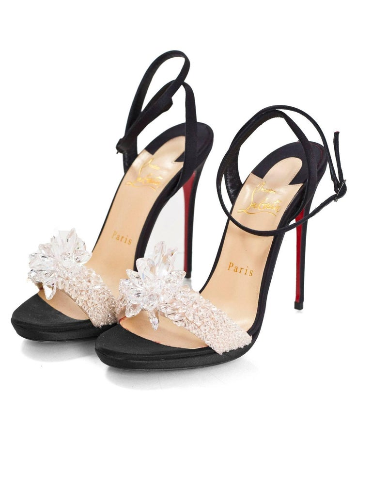 73e13884e71 Christian Louboutin Black Crystal Queen 120 Evening Sandals Sz 36.5 ...