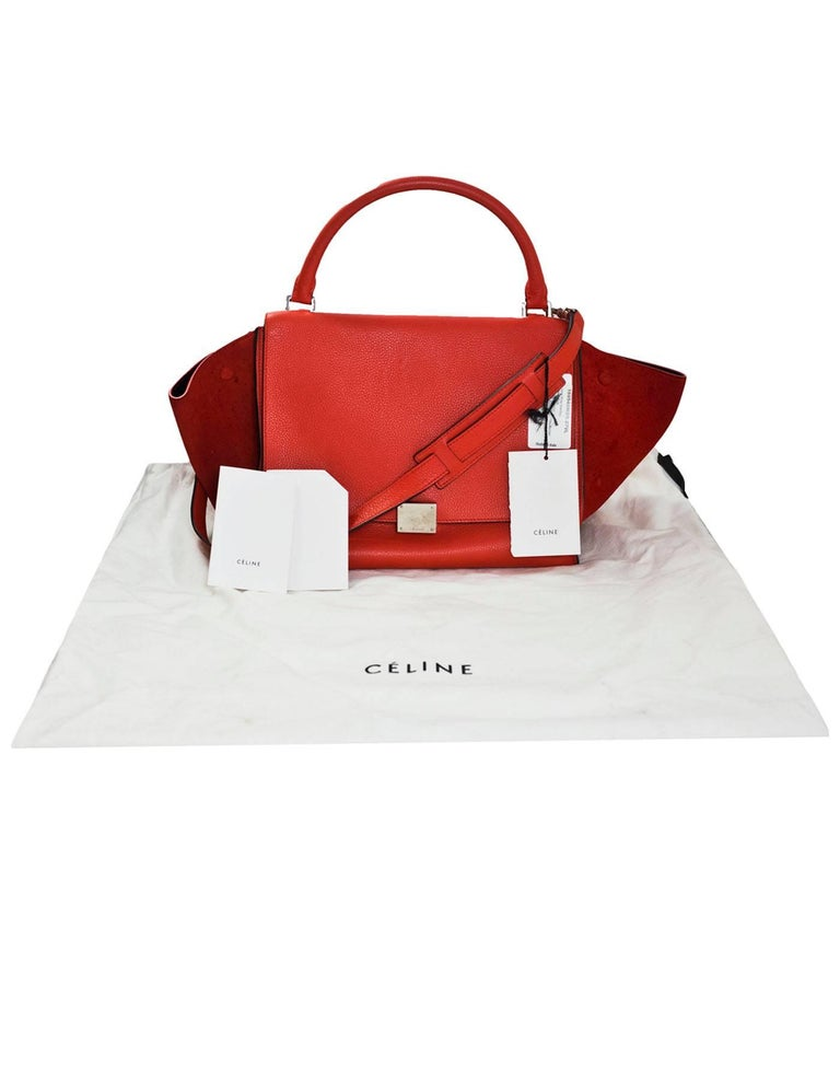 Celine Vermilion Red Leather and Suede Medium Trapeze Bag with DB For Sale 6 4fff1a1e3319b