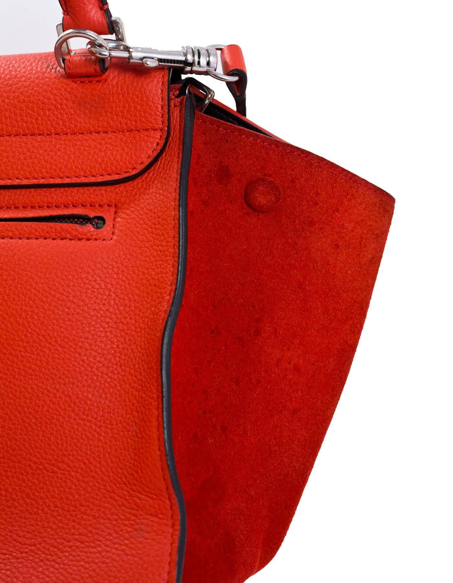 Celine Vermilion Red Leather and Suede Medium Trapeze Bag with DB For Sale  at 1stdibs 87c56353e07a7