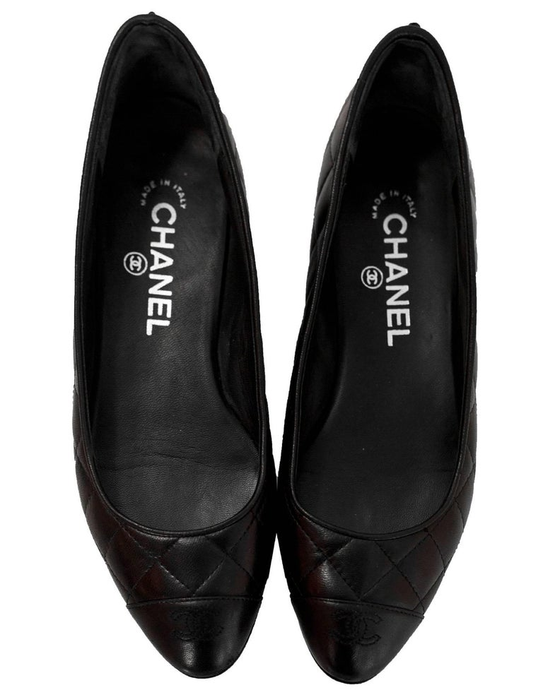 acd093b91fd Chanel Black Quilted Leather Flats Sz 37 With Box At 1stdibs