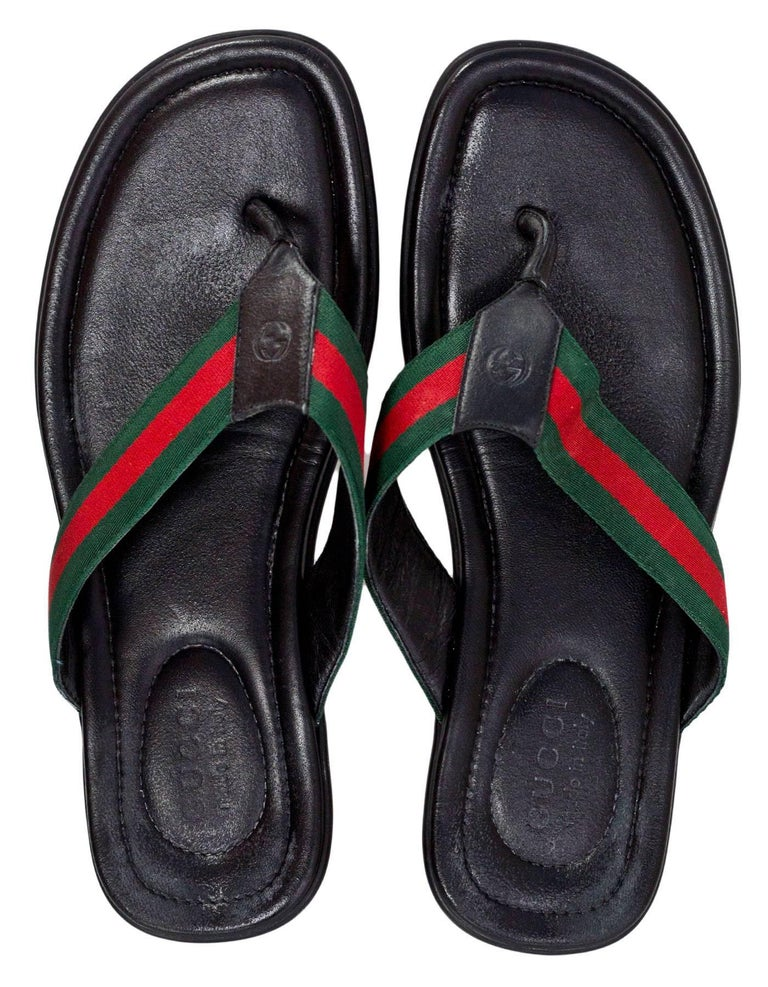 052c0a878ad1 Gucci Men s Titian Beach Web   Leather Sandals Sz 9 In Excellent Condition  For Sale In
