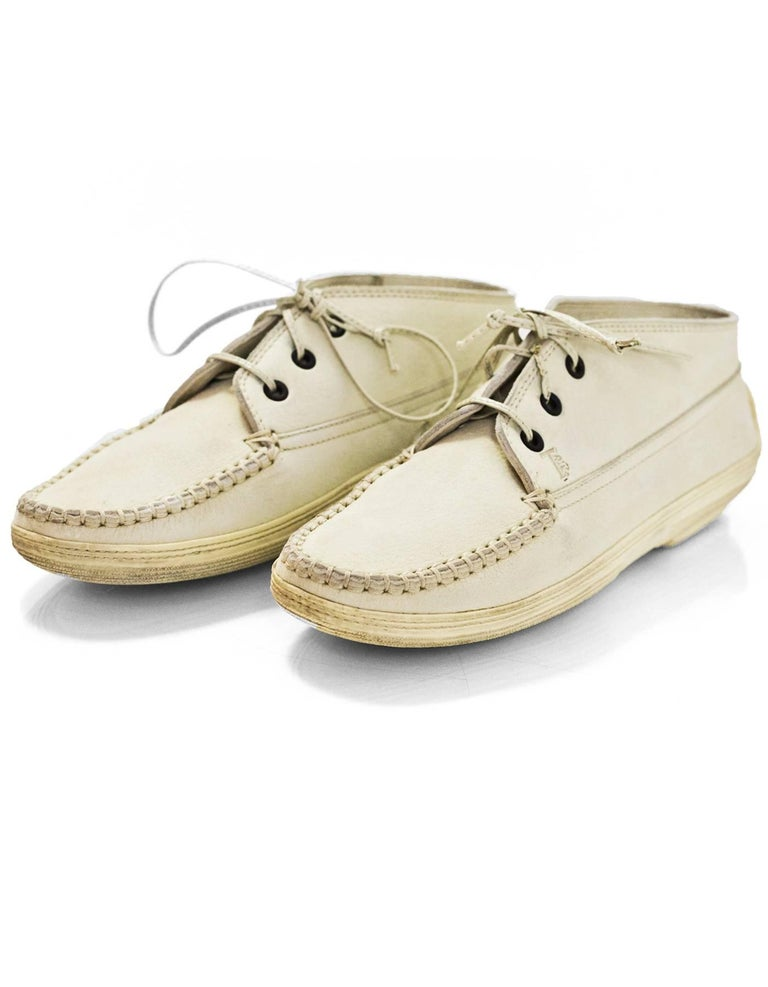 TOD's Cream Leather Lace-Up Loafers Sz 37.5  Made In: Italy Color: Cream Materials: Leather Closure/Opening: Lace tie closure Sole Stamp: TODS Overall Condition: Excellent pre-owned condition with the exception of some light wear and discoloration