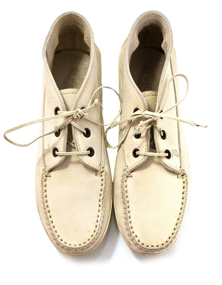 Beige TOD's Cream Leather Lace-Up Loafers Sz 37.5 with DB For Sale