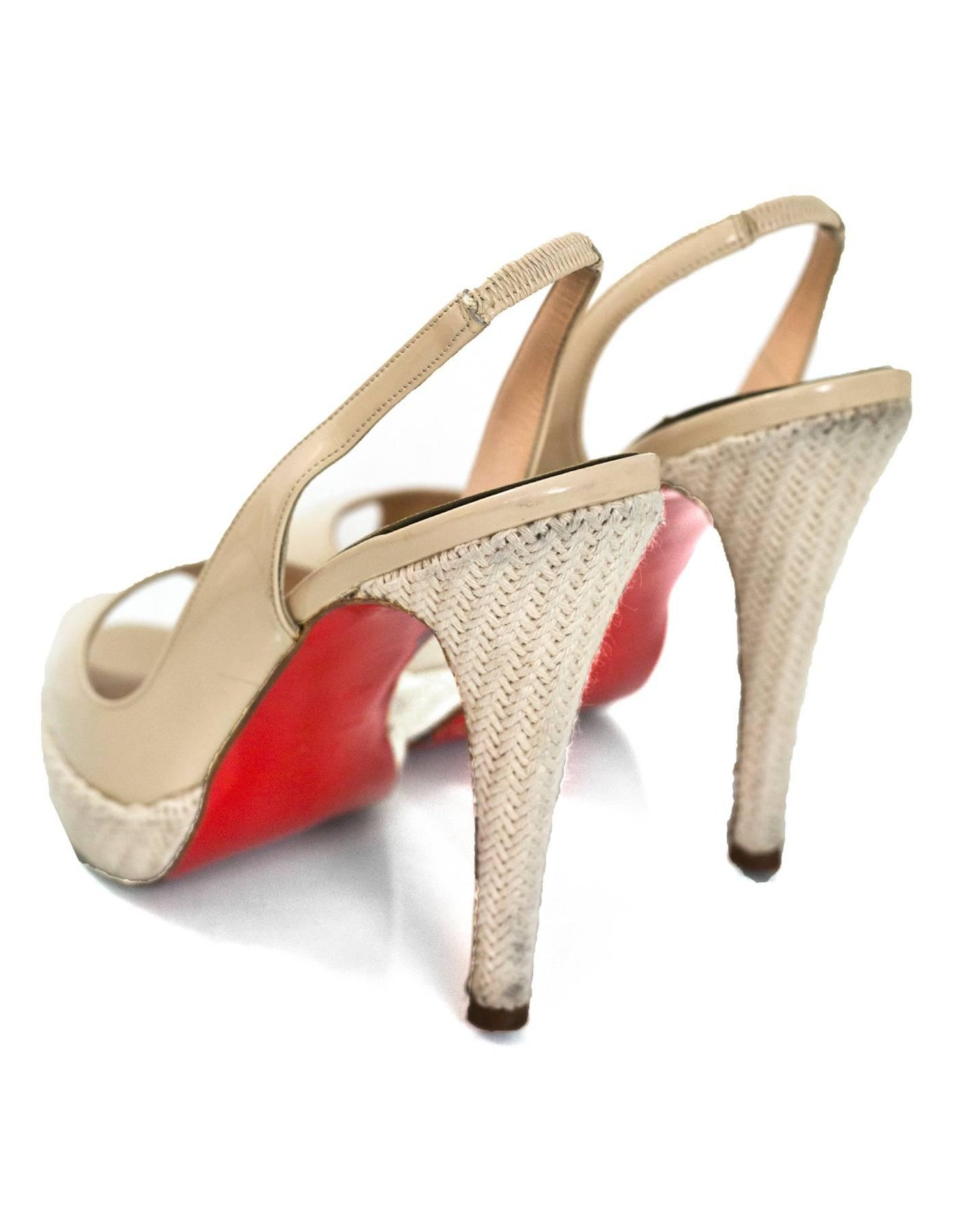 ddc5f0109a38 Christian Louboutin Beige Patent Peep-Toe Pumps Sz 40 For Sale at 1stdibs