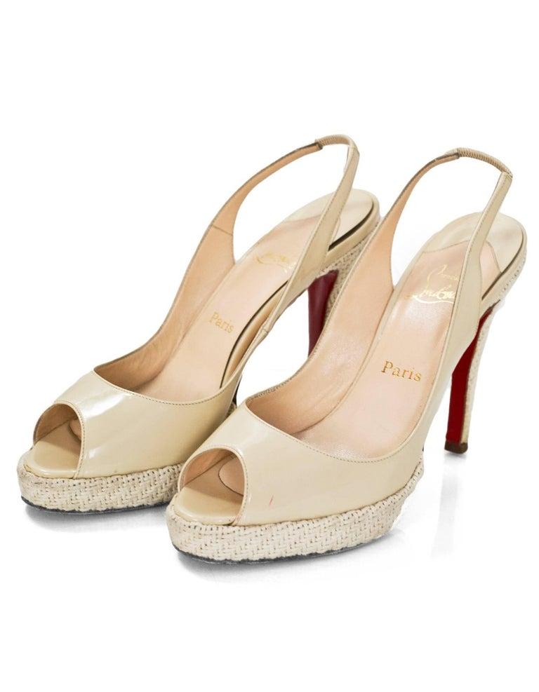 1a18ffeee3da Christian Louboutin Beige Patent Peep-Toe Pumps Sz 40 Features woven heels  and platform Made