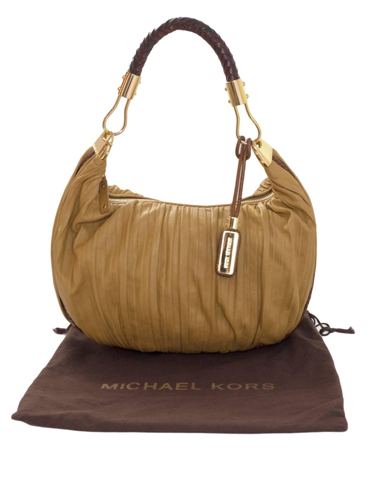 753cdccfffaa Michael Kors Tan Ruched Leather Skorpios Hobo Bag For Sale at 1stdibs
