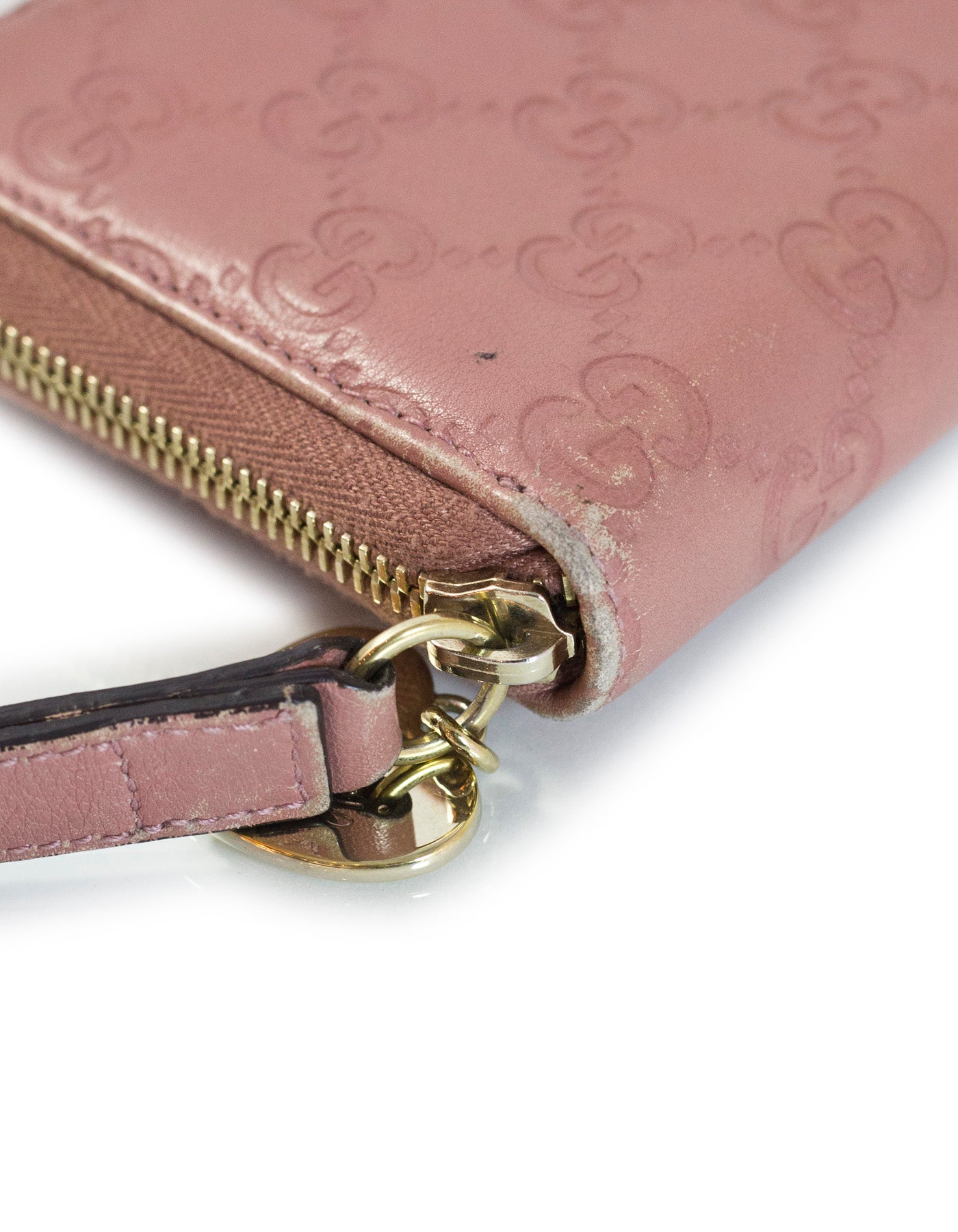 77c3761f2b3 Gucci Pink Embossed Monogram Leather Zip Around Wristlet Wallet For Sale at  1stdibs