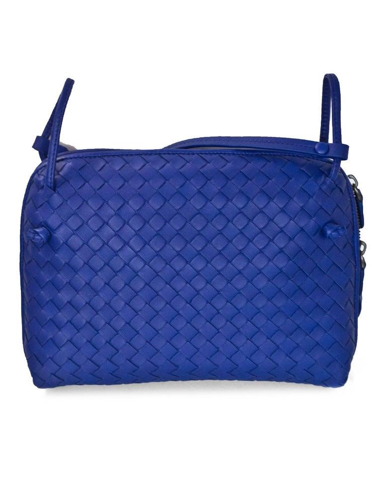 9fda24e39b54 Bottega Veneta Cobalt Blue Intrecciato Leather Pillow Crossbody Bag ...