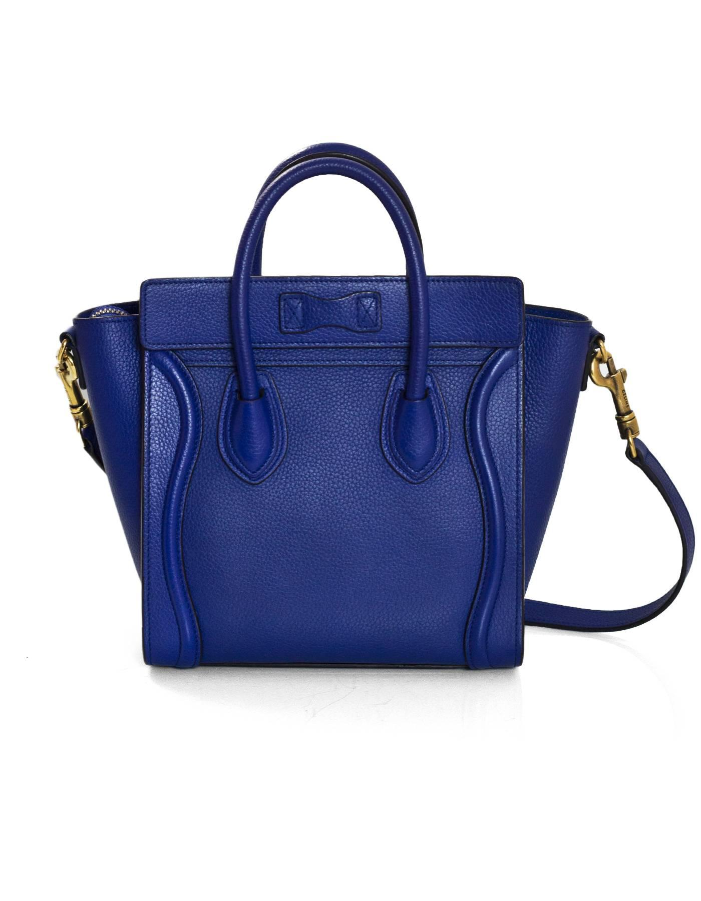 77f1bd5b2e Celine Cobalt Blue Drummed Calfskin Nano Luggage Tote Crossbody Bag with DB  For Sale at 1stdibs