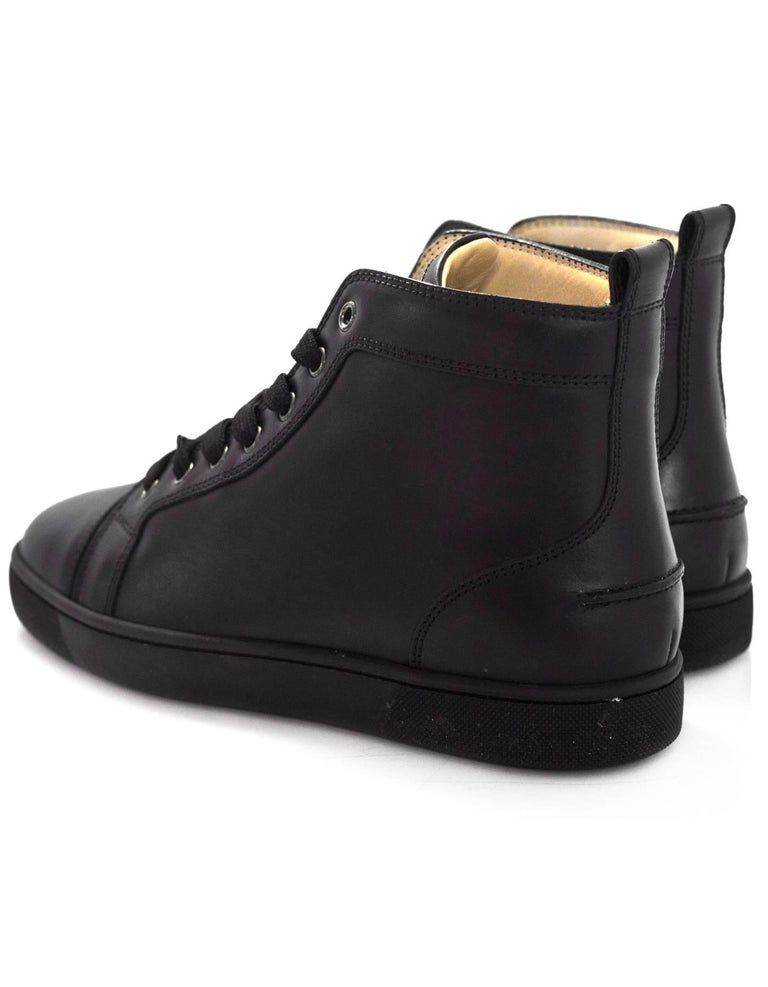 a475b0dbcd01 Men s Christian Louboutin Mens Black Leather Louis Sneakers Sz 40 with Box  For Sale