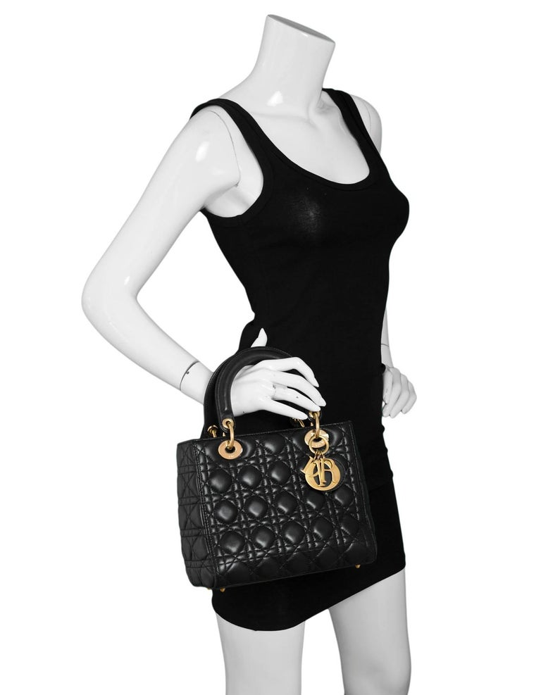 48d3897175aa3 Christian Dior Black Lambskin Cannage Medium Lady Dior Bag Features  optional shoulder strap Made In