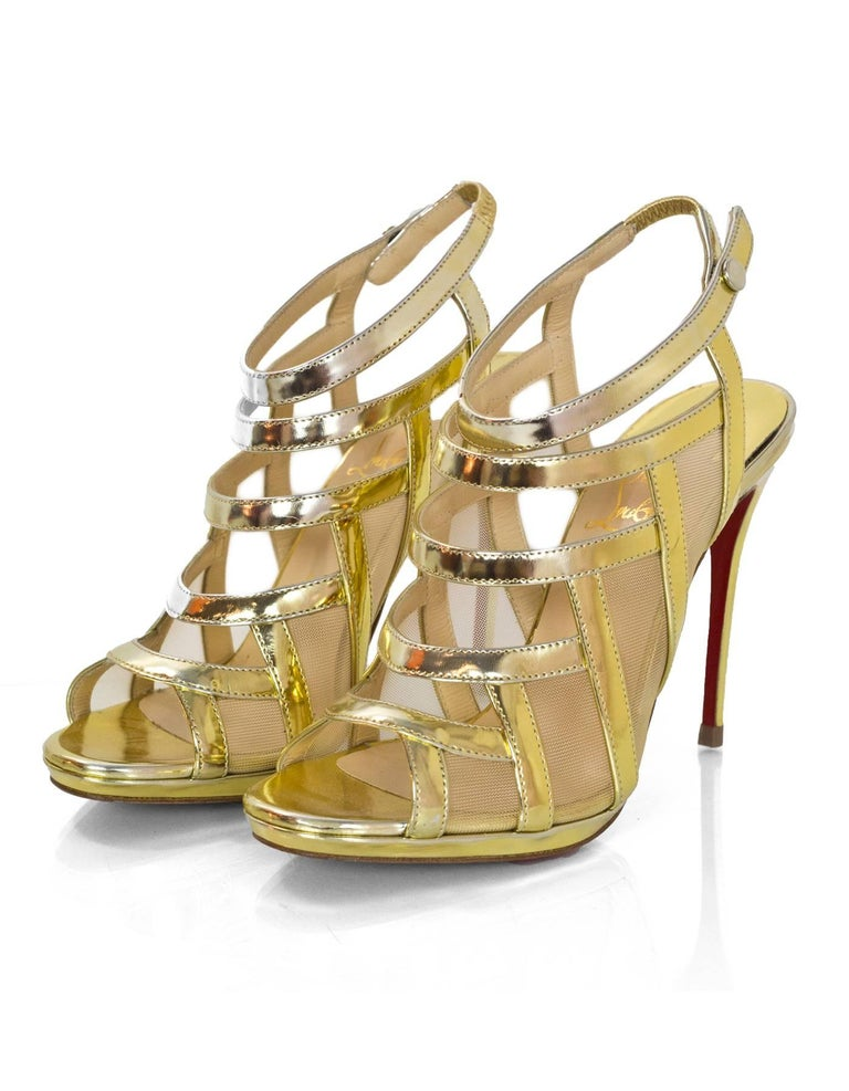 d82aba071ae3 Christian Louboutin Gold Nicole 120 Sandals Sz 36.5 NEW Made In  Italy  Color  Gold