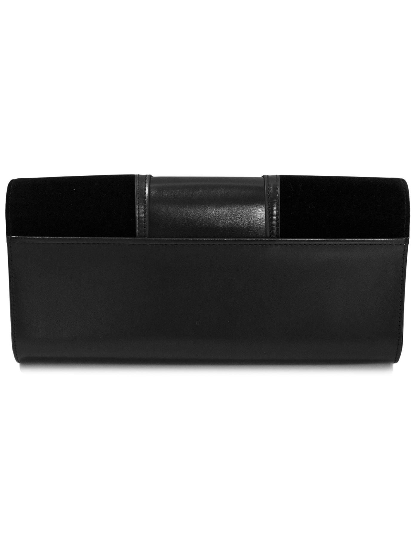1stdibs Perrin Black Velvet & Calfskin Le Corset Glove Clutch Bag W. Dust Bag Rt. $1,200