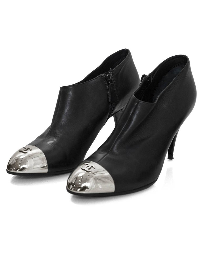 c763a9cd101 Chanel Black Leather & Silver Cap-Toe Booties Sz 40