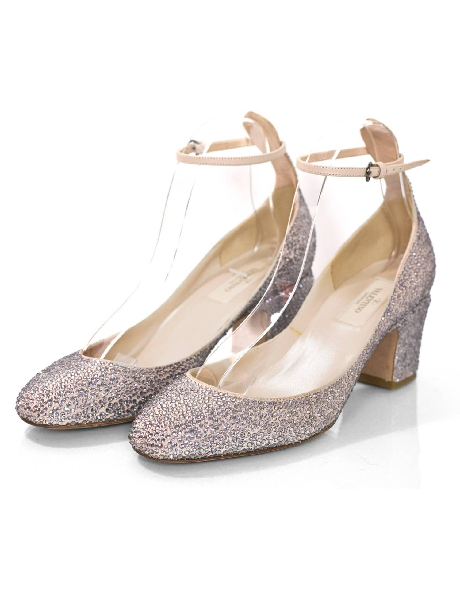 f3c71189082ee Valentino Pewter and Taupe Crystal Encrusted Pumps sz 38 at 1stdibs